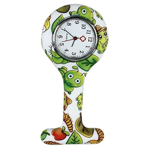 SODIAL Reloj Bolsillo de Broche en Silicona para Enfermeros y Paramedicos Verde