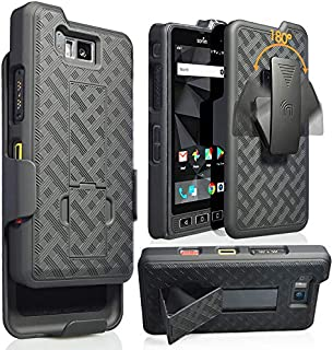 Sonim XP8 Case with Clip, Nakedcellphone [Black Tread] Kickstand Cover with [Rotating/Ratchet] Belt Hip Holster Combo for Sonim XP8 Phone (XP8800)