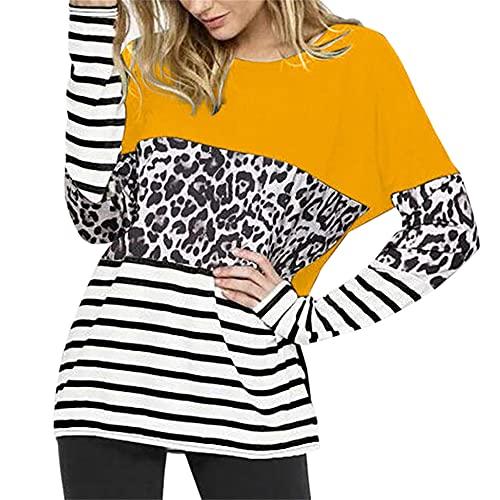 PRJN Sudadera de Bloque de Color con Estampado de Leopardo para Mujer Jersey de Manga Larga con Cuello Redondo Jersey Informal Tops Sueltos Camiseta Informal con Costuras Camiseta