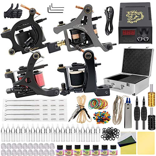 Tattoo Kit, Beoncall Complete Tattoo Kit Set 4 Tattoo Machine with Power Supply Foot Pedal 20 Tattoo Needles Grips Tips for Shading and Lining Tattoo Kit Case Tattoo Supplies (4 guns)