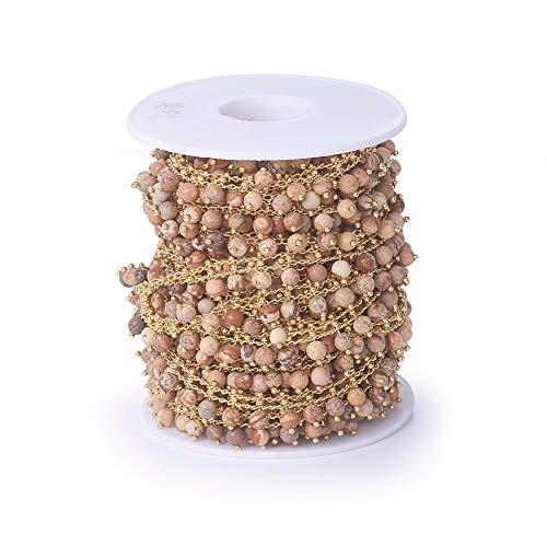 Airssory 5 metros hechos a mano con imagen natural de jaspe de cristal de piedras preciosas rosario de bola de rosario con cuentas de cadena para hacer joyas y manualidades.