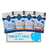 Blue Buffalo Blue Bits Natural Soft-Moist Training Dog Treats, Beef, Salmon, Turkey, & Chicken Recipes 4oz Variety Pack, 4Ct