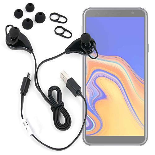 DURAGADGET Auriculares inalámbricos inalámbrico en Color Negro para Smartphone Blackview BV5500 (2019), Samsung Galaxy J4+, Wiko Lubi5