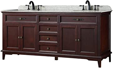 Ove Decors Doncaster 72 Tobacco Double Sink Vanity with Speckled Beige Granite Top