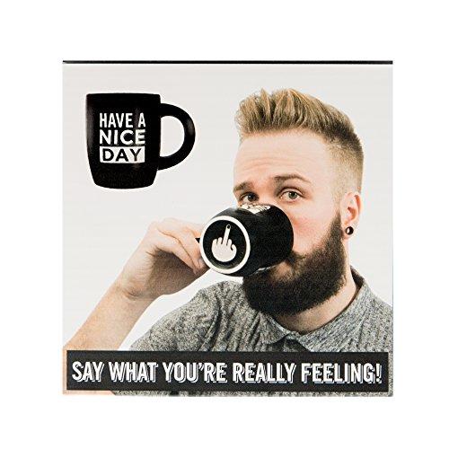 Modo Creation Have A Nice Day Kaffeetasse Teetasse schwarz mit Mittelfinger auf der Unterseite
