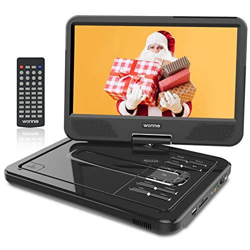WONNIE 2021-Aufgerüstet 10,5 Zoll Tragbarer DVD Players mit 270° Schwenkbaren Bildschirm und Einer Akkulaufzeit von 4 Stunden, Unterstützt USB,SD, AV In/Out, 3-in-1 Adapter (Schwarz)