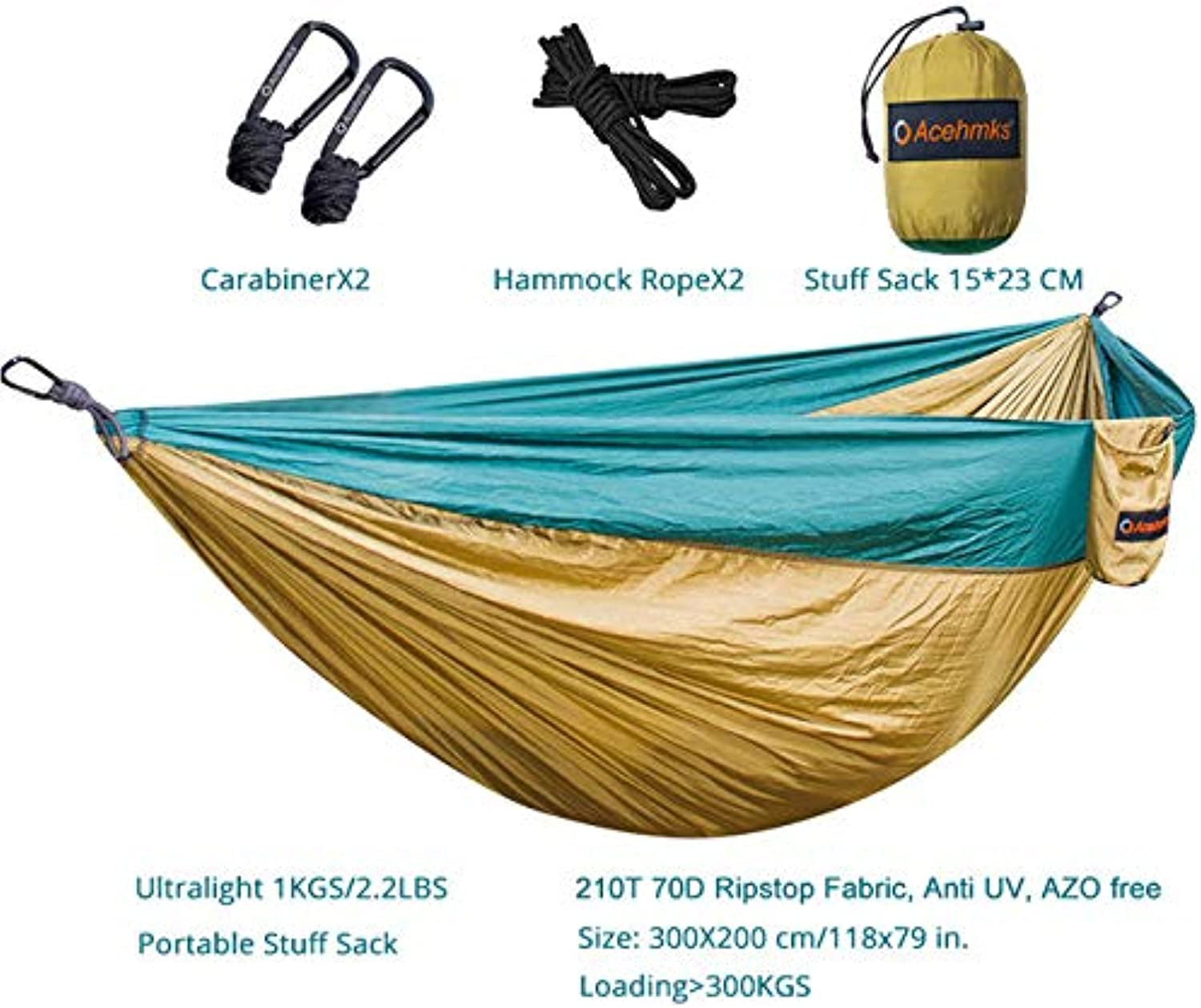 Outdoor Hammocks Ultralight Portable Ripstop 210T 70D Nylon Hamc with 2 Carabiners Hammock Tree Straps 300CMX2PCS Hamaca Acehmks   Green with Ropes