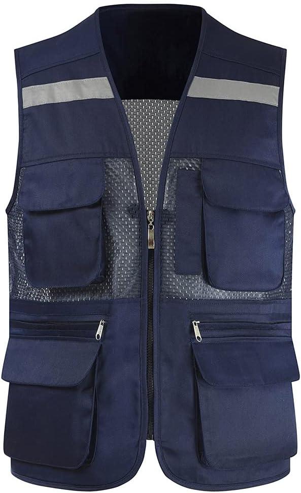 3190 Creative Reflective Vest Direct sale of manufacturer High Zipper Multifunctional P Manufacturer direct delivery Mesh