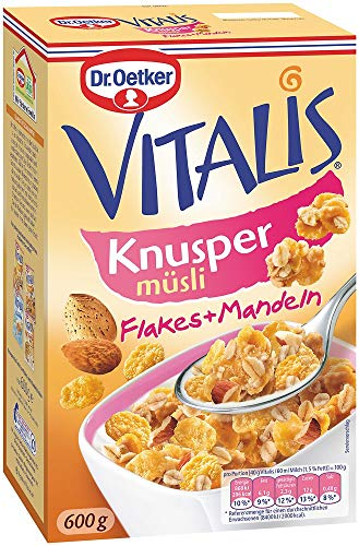 Dr. Oetker Vitalis Knusper Flakes, Knuspermüsli mit Cornflakes und Mandelstücken, 5er Packung (5 x 600g)