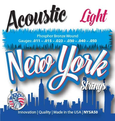 New York Strings - NYSA50 - Acoustic Guitar Strings - Phosphor Bronze Wound - Light