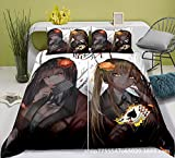ZZYYII Kakegurui-Compulsive Gambler, Microfiber, Cierre de Cremallera, Ropa de Cama para niños y fanáticos de Anime, 1 Colcha y 2 pillowcasas (sin edredón) (Size : EU Twin Single (135x200cm))