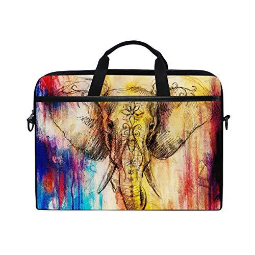 EZIOLY Elephant Floral Pencil Drawing Laptop Shoulder Messenger Bag Case Sleeve for 13 Inch to 14 inch Laptop