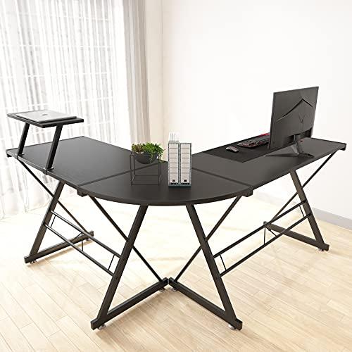 Maxzzz Bureau dangle en Forme de L - Solide - avec Structure et Table en Forme de L - avec Pieds réglables - 147 x 126 x 73 cm - Grande Table en Bois MDF - Noir