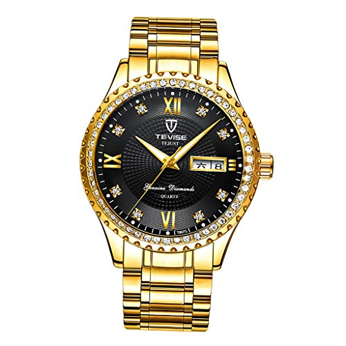 joyMerit Reloj de Pulsera Luminoso Mecánico Resistente Al Agua de Acero Inoxidable para Hombre - Oro Negro