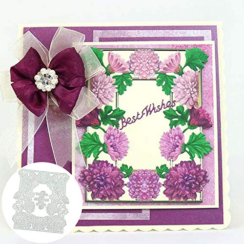 Flower Letters Frame Cutting Die Scrapbooking Embossing Card Making Album Decor - Silver