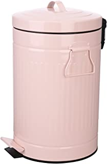Bathroom Trash Can with Lid, Pink Bathroom Bedroom Wastebasket, Round Waste Bin Soft Close, Small Retro Vintage Home Metal Garbage Bin for Office Foot Pedal Step, 12 Liter/3 Gallon, Glossy Pink