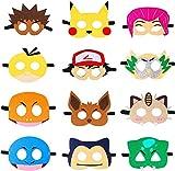 OMZGXGOD 12 Piezas Máscaras de Fieltro, Máscaras de Pikachu Máscaras para Niños y Adultos, Máscara de Cosplay con Cuerda Elástica Máscaras de Ojos para Niños Suministros de Fiesta
