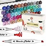 mancola 60 pennarelli colorati con punta doppia, brush markers pennello e scalpello per bambini, artisti, studenti, pennarelli per schizzi, colorare per adulti, calligrafia