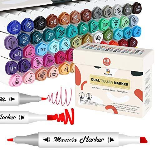 Mancola 60 Colori Pennarelli Set, Marker Pen Pennarello Doppia Punta Broad Fine Point , per disegnare, colorare, graffiti, pittura su roccia, ceramica, legno per artisti