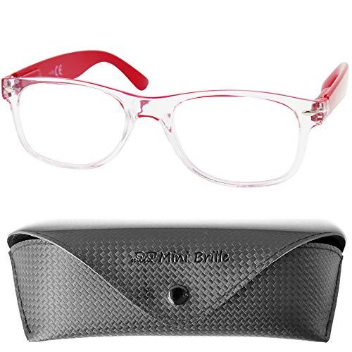 Leichte Gaming Brille, Kunststoff Brillengestell Transparent und Bügeln (Rot), GRATIS Brillenetui, Durchsichtige Unisex Blaulichtfilter Lesebrille Damen und Herren +2.5 Dioptrien