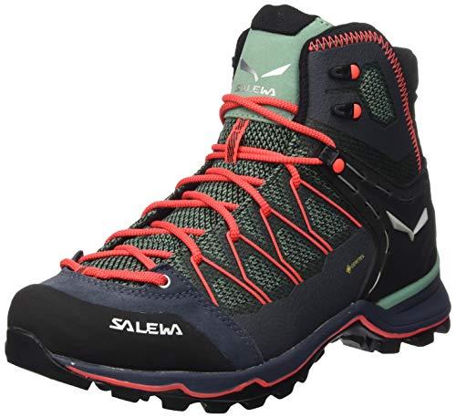 Salewa Damen WS Mountain Trainer Lite Mid Gore-TEX Trekking- & Wanderstiefel, Feld Green/Fluo Coral, 39 EU