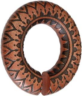 CHICNET - Piercing dilatatore per orecchio, unisex, in legno rosso e marrone, anello a ciambella, con incisione scura dent...