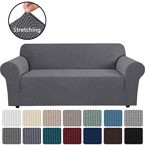 """H.VERSAILTEX Stretch Sofa Cover Couch Covers Sofa Covers for 3 Cushion Couch Sofa Protector Cover for Living Room, Small Checks Jacquard Soft Thick, Removable and Washable(Sofa 72""""-96"""": Grey)"""