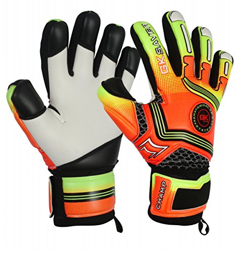 GK Saver Torwarthandschuhe Champ 01 Orange Negative Cut Torwarthandschuhe, YES Fingersave NO Personalization, Größe 7