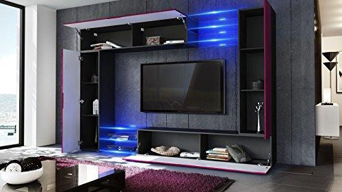Wohnwand – Moderne Wohnzimmer Anbauwand in schwarz Bild 2*