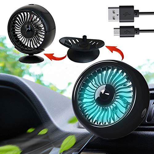 Kwak's 車内扇風機 車用 卓上 エアコン 両用 角度調整可能 LEDライト 付き 夏対応 強風量 省エネ 小型 USB ...