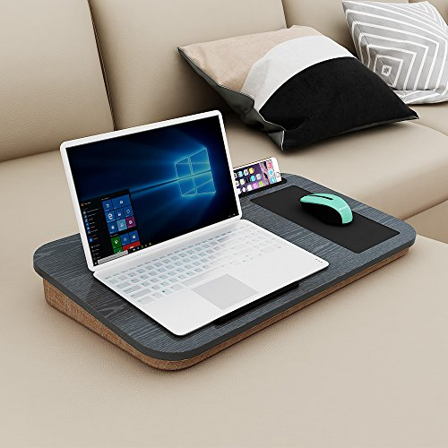 "HOME BI Lap Desk for Laptop with Built-in Mouse Pad and Cellphone Tablet Holder,Fits up to 15"" Laptop,Black"