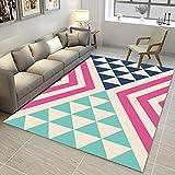 Alfombra moderna para el hogar, sala de estar, dormitorio, gran área alfombra, suave, antideslizante, fácil de limpiar, rosa, morado, azul, verde, geométrico, 120 x 160 cm