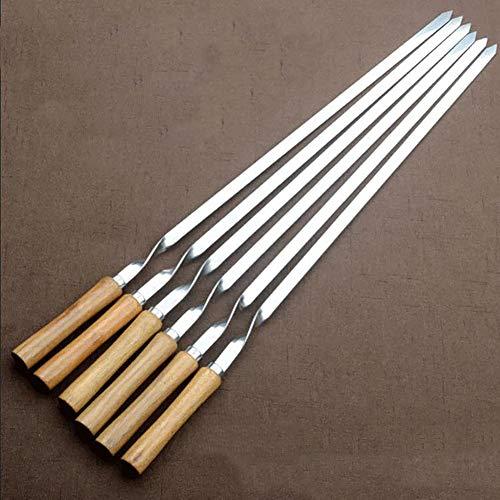Kebabspieß mit Holzgriff, Edelstahl-Grillspieß-Set, flacher Kebab, wiederverwendbarer Grillstab, Grillgemüsespieß aus Metall