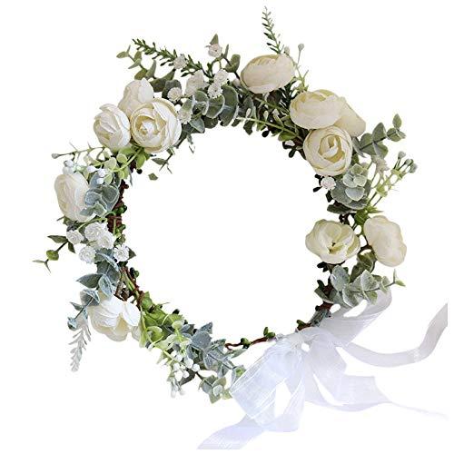 zhongbao Corona para la cabeza, corona de vacaciones, tocado para el pelo femenino, tocado para niña, corona de flores de boda, tocado de flores (color: color de la imagen, tamaño: ajustable)