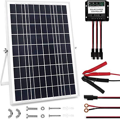 Kit de panel solar de 30 W, 12 V, cargadores de batería solares impermeables con controlador de carga y soportes de montaje ajustables para RV, coche, barco, camping, techo