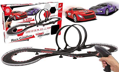 TURBO CHALLENGE - Circuito 533 en 8 con looping-Negro-5,3 m de Pista 2 vehículos 1/43-Circuit-2 mandos Digitales proporcionales - Race campeón a Partir de 8 años 92202