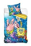 SpongeBob Squarepants Funda nórdica con funda de almohada de algodón (140 x 200 + 70 x 90 cm)