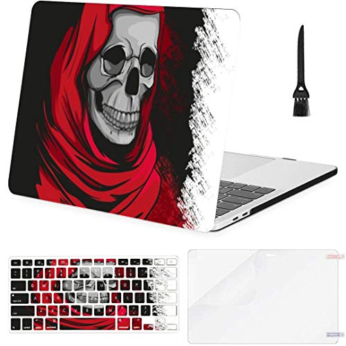 MacBook Air 13 Inch Case Grim Reaper Red Robe Portrait MacBook Air11 Case MacBook Pro13 Pro15 Plastic Case Keyboard Cover,Screen Protector,Keyboard Cleaning Brush