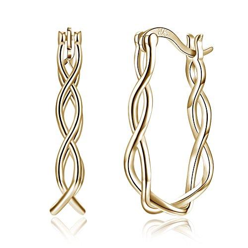 Nykkola - Pendientes de aro para mujer, plata de ley 925 bañada en oro de 18 quilates, forma de U