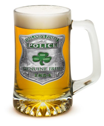 Beer Mugs with Handles – Law Enforcement Tankard Beer Mug – Police Officer Gifts for Men or Women – Garda Irelands Finest Beer Glasses with Logo – Set of 2 (25 Ounces)