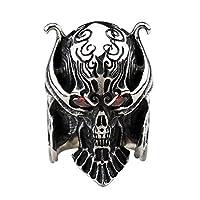 [silver KYASYA]高品質ステンレス メンズ リング シルバー 指輪 スカルリング ドクロ ハード レッドアイ ジルコニア 繊細 重厚 (15)