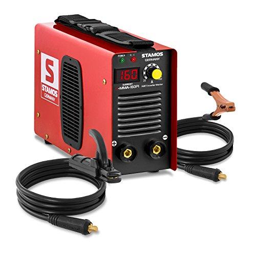 Schweißgerät Inverter Schweißgerät Elektroden E-Hand MMA (160 A, Hot Start, Display LED, IGBT, Einschaltdauer 60%, inkl. Zubehör) Stamos Germany
