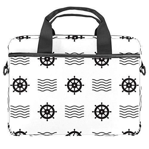 Laptop Umhängetasche 15 Zoll Aktentasche Dokumententasche Messenger Bag mit Griff & Schultergurt Ruder Sea Wave Muster