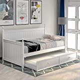 Wood Daybed Twin with Trundle , Twin Size Daybed Frame Sofa Bed with Trundle /Twin Bed Frame, No Box Spring Needed (Trundle White 2)