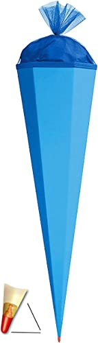 Roth Rohling 85cm eckig blau einfarbig Schultüte Zuckertüte Schulanfang Spitze