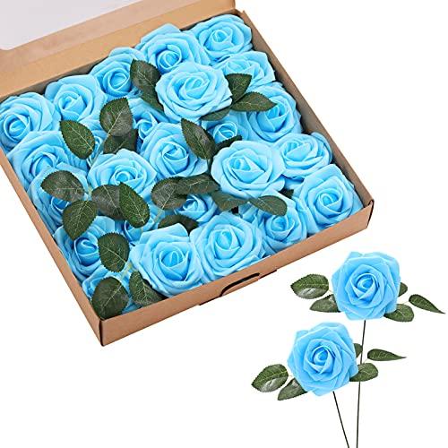 ASYOUWISH Flores Artificiales, 25 Piezas, Rosas de Imitación de Espuma de Poliestireno con Tallos,...