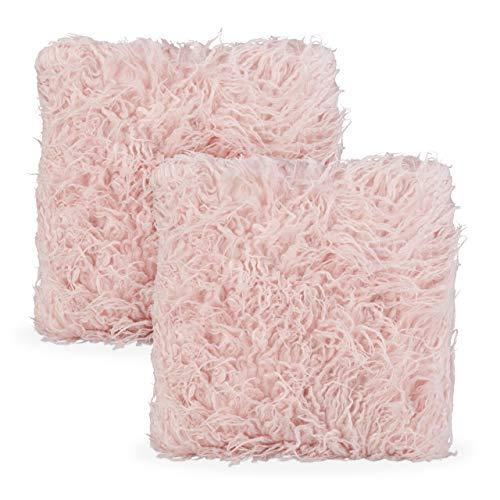 Relaxdays Flauschige Kissen 2er Set, mit Füllung, kuschelweich, Fluffy Zottel Bezug, Plüsch Zierkissen 35x40 cm, rosa