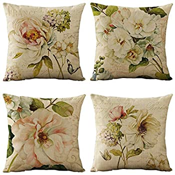 WOMHOPE Set of 4 Vintage Spring Flower Decorative Throw Pillow Covers Pillow Cases Cushion Cases Burlap Toss Throw Pillow Covers 18 x 18 Inch for Living Room,Couch and Bed  Beige Flower