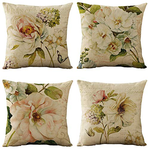 WOMHOPE Vintage Spring Flower Decorative Throw Pillow Covers