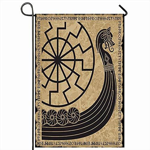 VVGETE Outdoor Garten Flagge 30X45 cm Barbarenkompass Asgard Kriegsschiff Wikinger Drakkar Alte Ehre Skandinavischen Muster Segel Vintage Wohnkultur Saisonale Doppelseiten Haus Hof Zeichen Banner